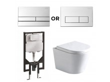 Argent VISTA WALL HUNG PACKAGE WITH CISTERN & FLUSH PLATE