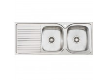 Double Right Hand Bowl Sink with Drainer 1 Taphole