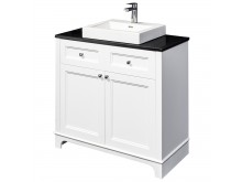 Floor Standing Vanity White & Black 900