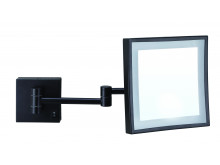 ablaze 3x Magnification Matt Black Wall Mounted Shaving Mirror Concealed Wiring