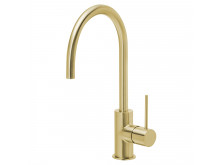 PHOENIX VIVID SLIMLINE 220MM GOOSENECK SINK MIXER BRUSHED GOLD