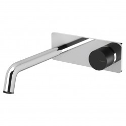 Phoenix Toi Wall Basin/Bath Mixer Set Chrome/Matte Black