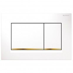 Geberit Sigma 30 Dual Flush Plate White/Gold Plated/White