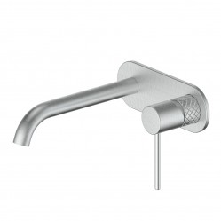 GREENS TEXTURA WALL BASIN MIXER With PLATE BRUSHED STAINLESS