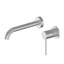 GREENS TEXTURA WALL BASIN MIXER BRUSHED STAINLESS