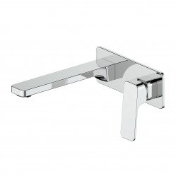 GREENS SWEPT WALL BASIN MIXER WITH PLATE CHROME