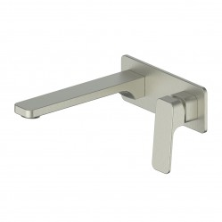 GREENS SWEPT WALL BASIN MIXER WITH PLATE BRUSHED NICKEL