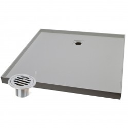 Akril Grey Tile Tray with Round Drain Rear Outlet 900 x 900mm