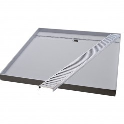 Akril Grey Tile Tray with Channel Grate Rear Grate 900 x 900mm