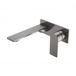 Caroma Urbane II 180mm Wall Basin / Bath Mixer - Rectangular Cover Plate Gunmetal