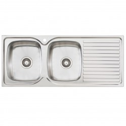 Double Left Hand Bowl Sink with Drainer 1 Taphole