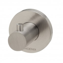 Phoenix Radii Robe Hook Round Plate Brushed Nickel