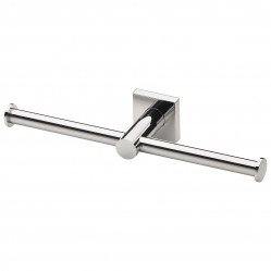 Phoenix Radii Double Toilet Roll Holder Square Plate Chrome