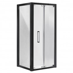 Johnson Suisse Corsica Bi-Fold Shower Door & Return Panel Set Black