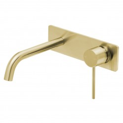 Phoenix Vivid Slimline Wall Basin Mixer Set 180mm Curved Brushed Gold