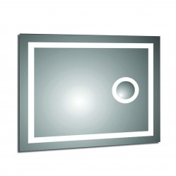 Ablaze Rectangle Back-lit Mirror with Border and Magnifier - Cool Light, 900x750x45mm