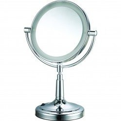 ablaze 1 & 5x Magnification, Chrome Free Standing Vanity Mirror, 175mm Diameter