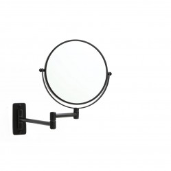 ablaze 1 & 5x Magnification Matt Black Wall Mounted Shaving Mirror, 200mm Diameter
