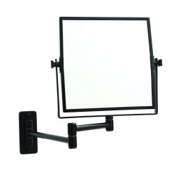 ablaze 1 & 5x Magnification Matt Black Wall Mounted Shaving Mirror, 200 x 200mm
