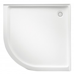 MARBLETREND FLINDERS POLYMARBLE CURVED SHOWER BASE 914MM X914MM CENTRE OUTLET
