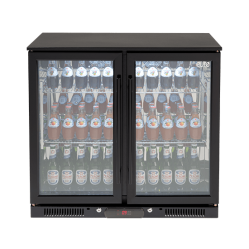 Double Door Black Beverage Cooler