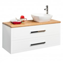 BOURNE LONG ISLAND WHITE WALL HUNG VANITY WITH JASMINE LIGHT STAINED SOLID TIMBER TOP & SCONDO BASIN