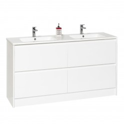BOURNE CUADRO PLUS FLOOR STANDING GLOSS WHITE WITH CUADRO POLYMARBLE DOUBLE BOWL TOP