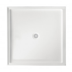 MARBLETREND FLINDERS POLYMARBLE SQUARE SHOWER BASE 820MM X 820MM RIGHT HAND RETURN