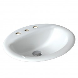 Ceramic inset above counter basin, oval 3 tapholes