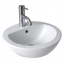 SEIMA CHIOS  Ceramic semi-recessed basin, oval 1 taphole
