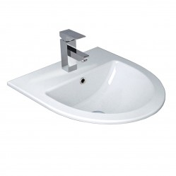 seima fotia Ceramic inset above counter basin, D-shaped 3 taphole