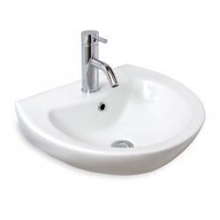 seima FOTIA Ceramic wall basin, D-shaped, 1 taphole