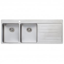 Oliveri Sonetto Double Left Hand Bowl Sink with Drainer 1 Taphole
