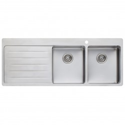 Oliveri Sonetto Double Right Hand Bowl Sink with Drainer 1 Taphole