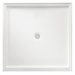 MARBLETREND FLINDERS POLYMARBLE SQUARE SHOWER BASE 900MM X 900MM RIGHT HAND RETURN