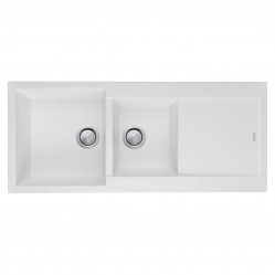 Oliveri Santorini White 1 & 3/4 Left hand Bowl Topmount Sink With  Drainer