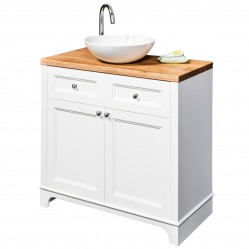 BOURNE EDWARD FLOOR VANITY WHITE WITH JASMINE LIGHT STAINED SOLID WOOD TOP & JANE BASIN