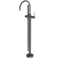 PHOENIX VIVID SLIMLINE FLOOR MOUNTED BATH MIXER WITH HAND SHOWER GUN METAL