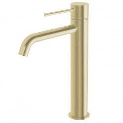 Phoenix Vivid Slimline Vessel Mixer Curved Outlet Brushed Gold